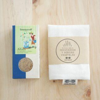 Kit para germinados con semillas de alfalfa y bolsa de algodón orgánico