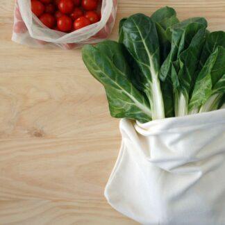 Bolsa de algodón orgánico para conservar verduras. Usar y Reusar