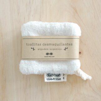 Toallitas desmaquillantes reutilizables de algodón orgánico Usar y Reusar