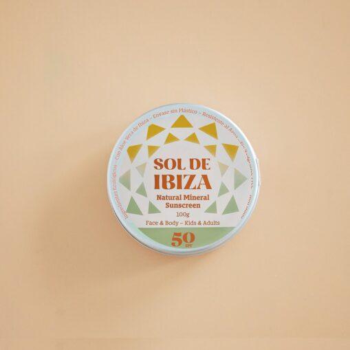 Protector solar Sol de Ibiza en lata 50 SFP. Sin plástico ni nano partículas